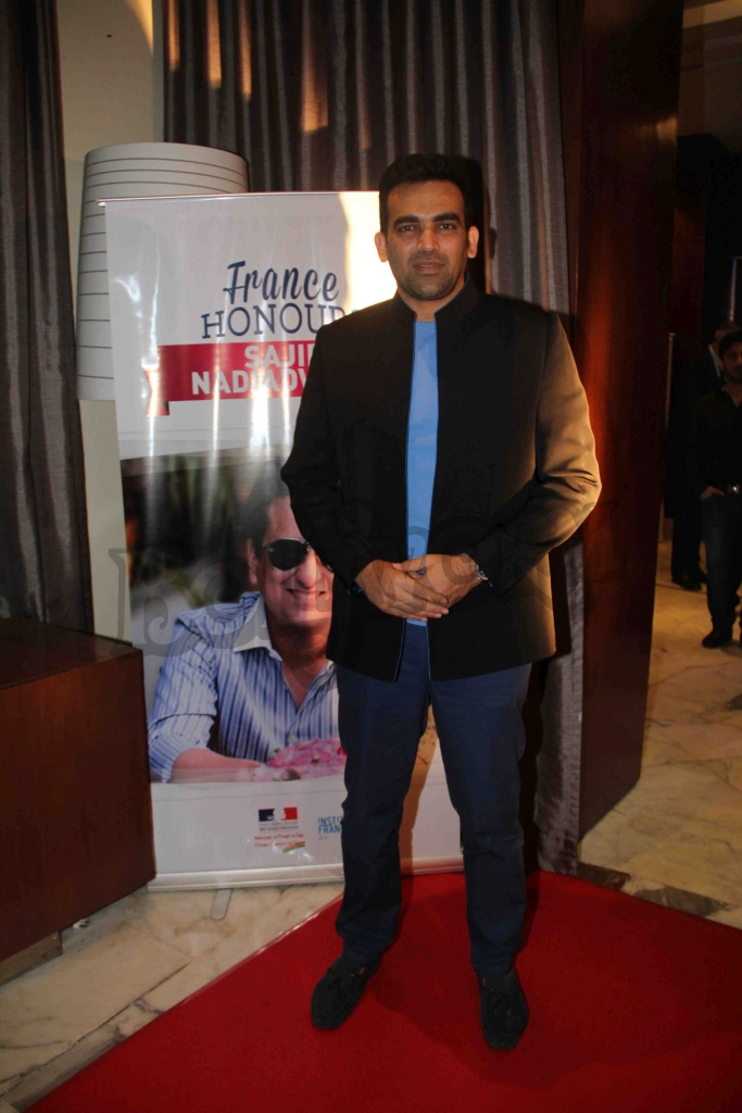 Indian Cricketer Zaheer Khan during an event where bollywood filmmaker Sajid Nadiadwala was conferred with an insignia of 'Chevalier des Arts et des Lettres' by Alexandre Ziegler, The Ambassador of France in Mumbai, India on September 21, 2016. (Utsav Devdutta/SOLARIS IMAGES)
