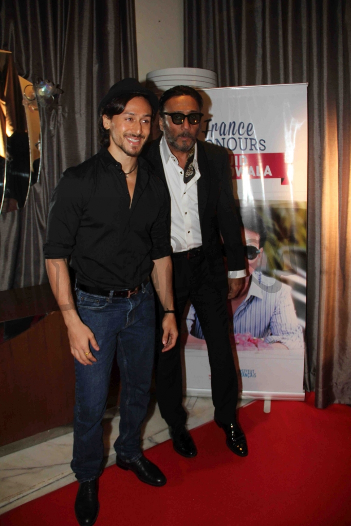 Bollywood actors Tiger Shroff and Jackie Shroff during an event where bollywood filmmaker Sajid Nadiadwala was conferred with an insignia of 'Chevalier des Arts et des Lettres' by Alexandre Ziegler, The Ambassador of France in Mumbai, India on September 21, 2016. (Utsav Devdutta/SOLARIS IMAGES)