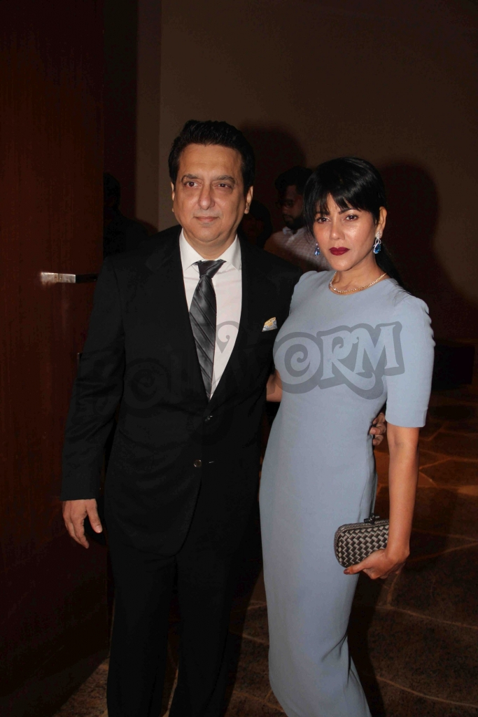 Bollywood filmmaker Sajid Nadiadwala along with his wife Wardha Nadiadwala during an event where bollywood filmmaker Sajid Nadiadwala was conferred with an insignia of 'Chevalier des Arts et des Lettres' by Alexandre Ziegler, The Ambassador of France in Mumbai, India on September 21, 2016. (Utsav Devdutta/SOLARIS IMAGES)