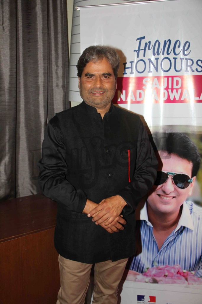 Bollywood filmmaker Vishal Bharadwaj during an event where bollywood filmmaker Sajid Nadiadwala was conferred with an insignia of 'Chevalier des Arts et des Lettres' by Alexandre Ziegler, The Ambassador of France in Mumbai, India on September 21, 2016. (Utsav Devdutta/SOLARIS IMAGES)