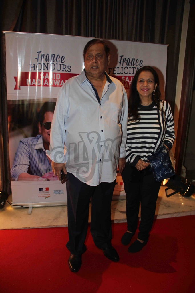 Bollywood filmmaker David Dhawan along with his wife during an event where bollywood filmmaker Sajid Nadiadwala was conferred with an insignia of 'Chevalier des Arts et des Lettres' by Alexandre Ziegler, The Ambassador of France in Mumbai, India on September 21, 2016. (Utsav Devdutta/SOLARIS IMAGES)