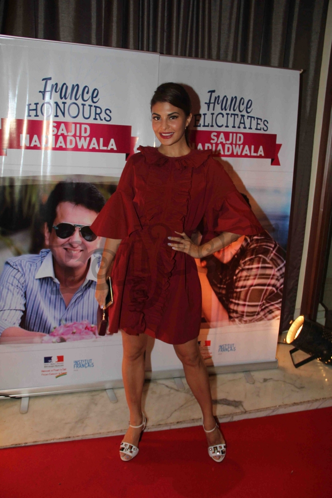 Bollywood actor Jacquline Fernandez during an event where bollywood filmmaker Sajid Nadiadwala was conferred with an insignia of 'Chevalier des Arts et des Lettres' by Alexandre Ziegler, The Ambassador of France in Mumbai, India on September 21, 2016. (Utsav Devdutta/SOLARIS IMAGES)
