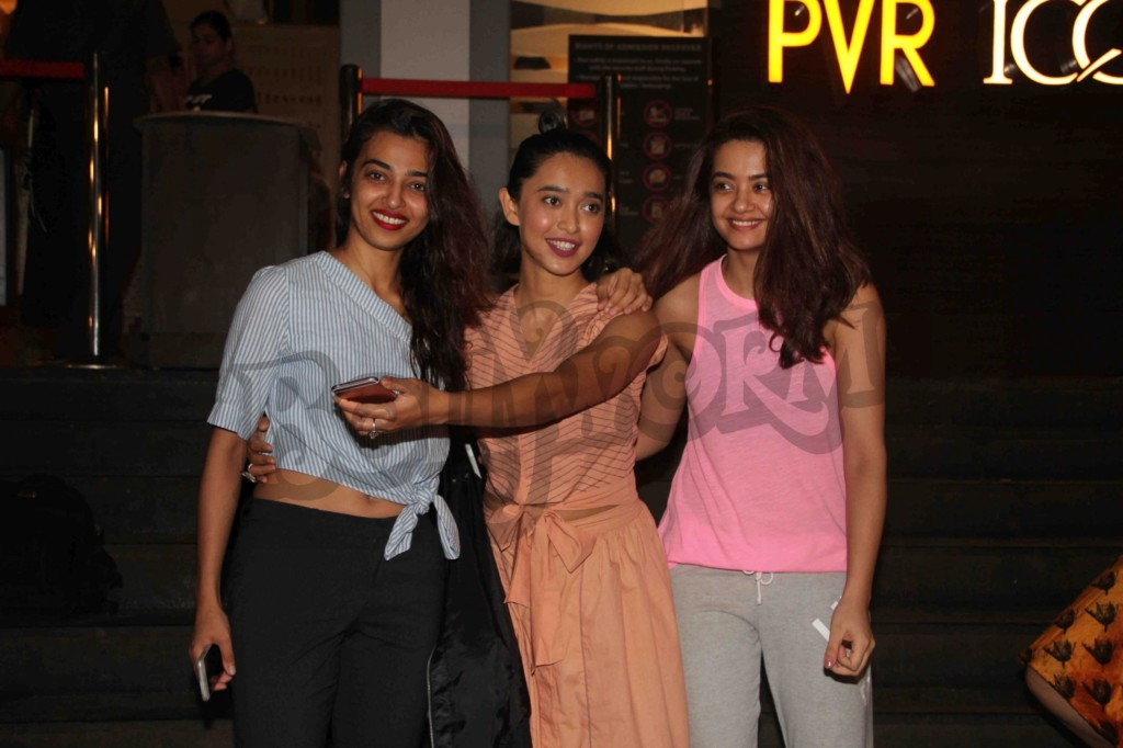 Bollywood actors Radhika Apte, Sayani Gupta and Surveen Chawla during the screening of film Parched in Mumbai, India on September 24, 2016. tsav Devdutta/SOLARIS IMAGES)