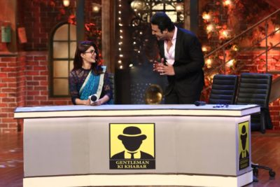Jacqueline Fernandes as a journalist with Krushna Abhishek on The Drama Company