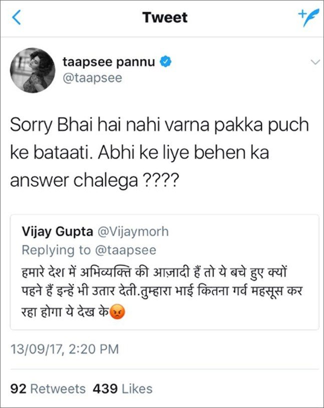 Taapsee Pannu Troll reply_Bollyworm